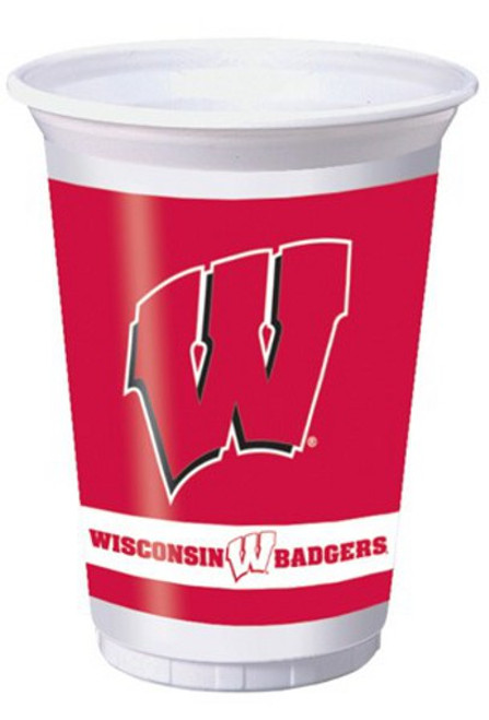 """Club pack of 96 White and Red NCAA University of Wisconsin Badgers Drinking Tailgate Party Cups 7"""" - IMAGE 1"""
