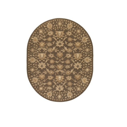 6' x 9' Brown Contemporary Oval Wool Area Throw Rug - IMAGE 1