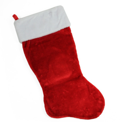 35-Inch Traditional Red with White Cuff Decorative Plush Christmas Stocking - IMAGE 1