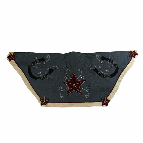 """48"""" Blue and Black Christmas Tree Skirt with Embroidered Stars and Horseshoes - IMAGE 1"""