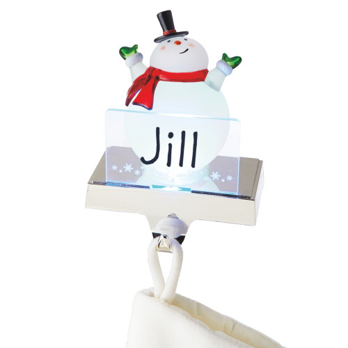 """6.75"""" White and Red LED Lighted Frosted Snowman Christmas Stocking Holder Foralization - IMAGE 1"""