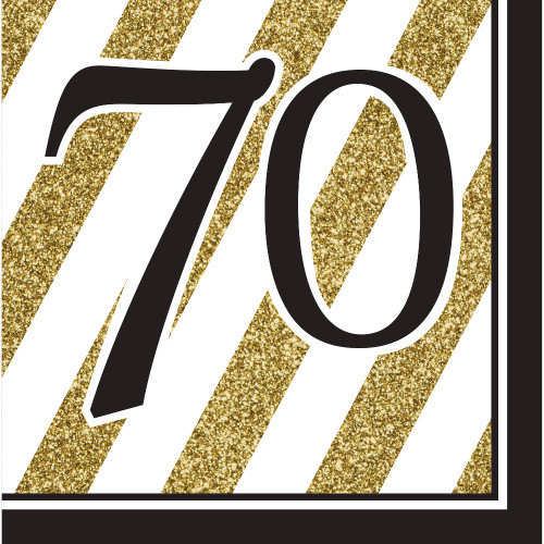 """Pack of 192 Gold and White Striped Disposable """"70"""" Birthday Party Luncheon Napkins 6.5"""" - IMAGE 1"""