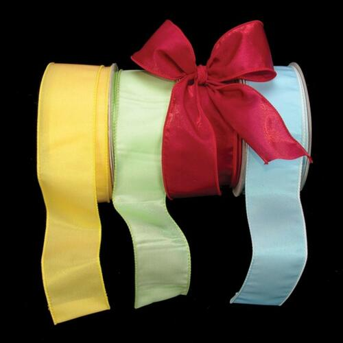 """Lime Green Two Tone Wired Craft Ribbon 2"""" x 40 Yards - IMAGE 1"""