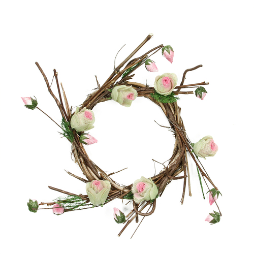 Rose Twig Artificial Floral Wreath, Brown and Pink 11-Inch - IMAGE 1