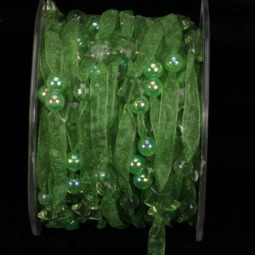 """Green Narrow Organdy with Stars Tulle Craft Ribbon 0.25"""" x 27 Yards - IMAGE 1"""