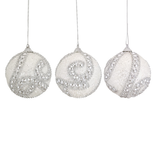 """3ct White and Silver Beaded Shatterproof Glittered Christmas Ball Ornaments 3"""" (76mm) - IMAGE 1"""