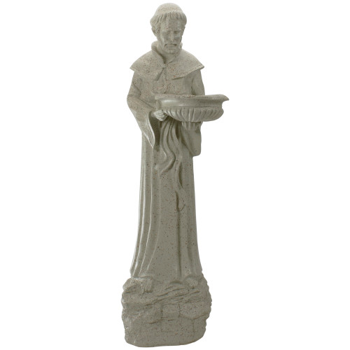 """23.5"""" St. Francis of Assisi Speckled Religious Bird Feeder Outdoor Garden Statue - IMAGE 1"""