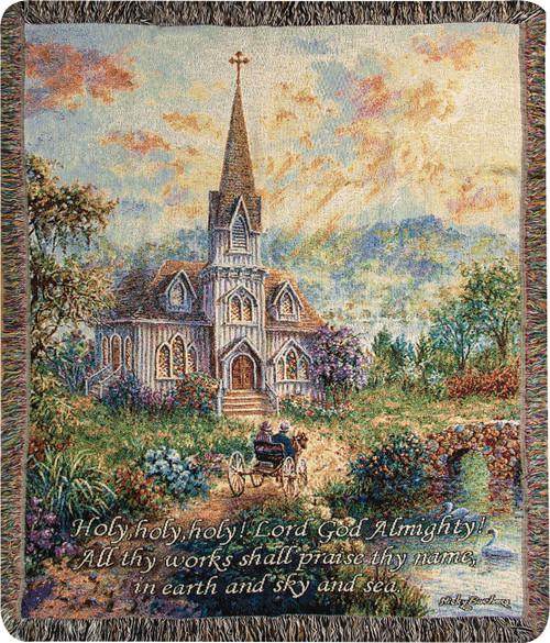 "Religious Contemporary Inspirational Verse Woven Throw Blanket 50"" x 60"" - IMAGE 1"