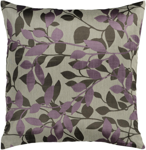 """18"""" Gray and Purple Tropical Square Throw Pillow - IMAGE 1"""
