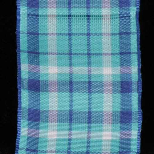 "Blue and White Taffeta Wired Craft Ribbon 1.5"" x 27 Yards - IMAGE 1"