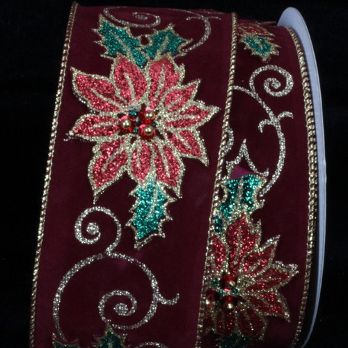 """Burgundy Red and Green Poinsettia Appliques Wired Craft Ribbon 2.5"""" x 10 Yards - IMAGE 1"""