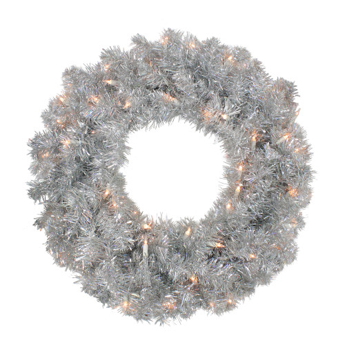 "24"" Pre-Lit Silver Sparkling Tinsel Artificial Christmas Wreath - Clear Lights - IMAGE 1"