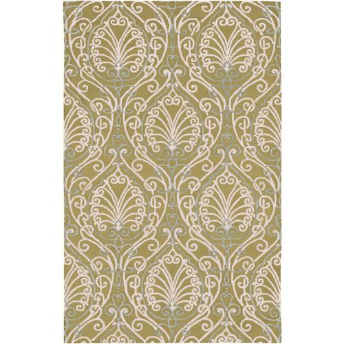 8' x 11' White and Green Arabesque Pattern Rectangular Wool Area Throw Rug - IMAGE 1
