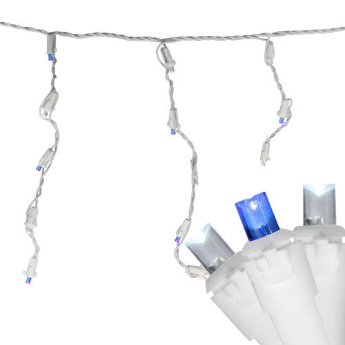 Set of 60 Blue and Pure White Twinkling LED Icicle Christmas Lights - White Wire - IMAGE 1