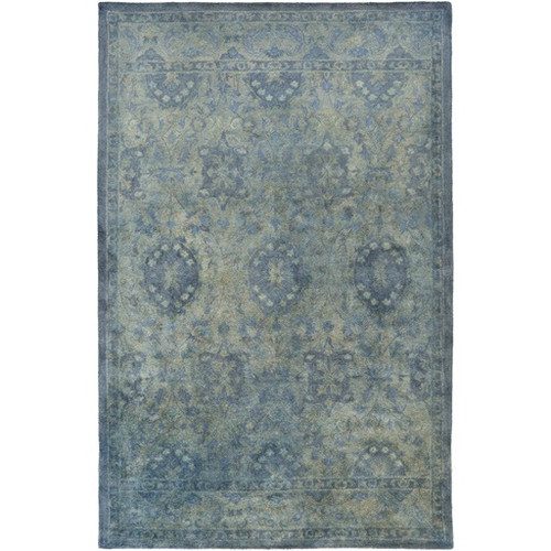 3.25' x 5.25' Berber Garden Steel Blue and Olive Green Hand Tufted Area Throw Rug - IMAGE 1