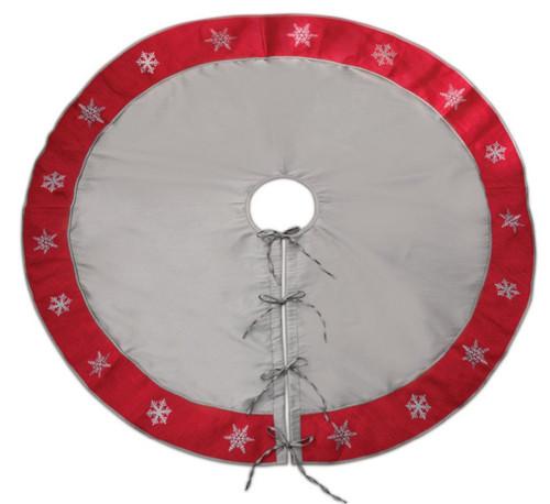 "54"" Gray and Red Snowflake Border Tie Closure Christmas Tree Skirt - IMAGE 1"