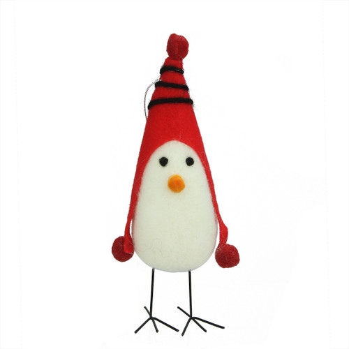 """8"""" Red and White Bird with Winter Hat Christmas Ornament - IMAGE 1"""