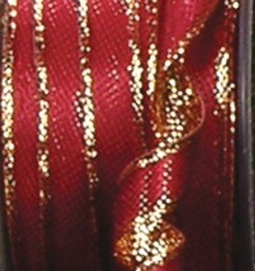 """Burgundy Red and Gold Solid Woven Wired Craft Ribbon 0.75"""" x 54 Yards - IMAGE 1"""