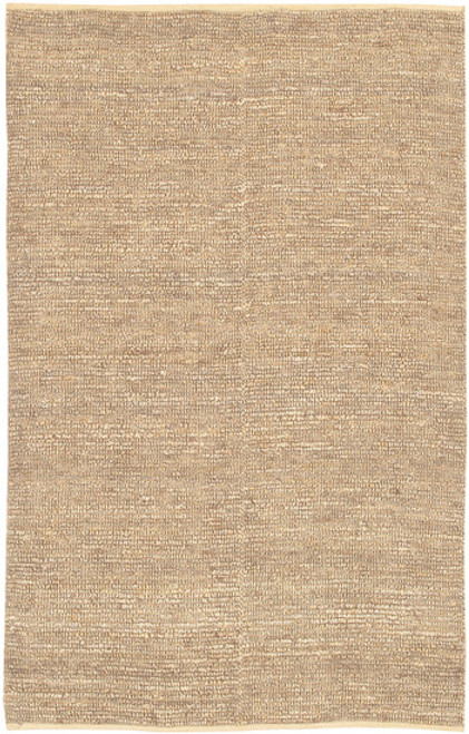 5' x 8' Solid Beige Hand Woven Area Throw Rug - IMAGE 1