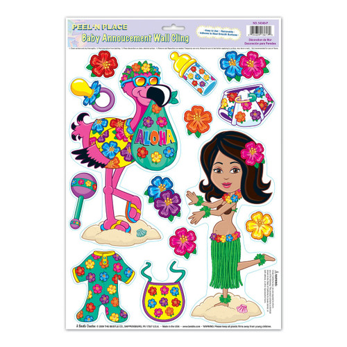 """Club Pack of 168 Vibrantly Colored Tropical Luau Hula Baby Peel 'N Place Cutout Decorations 17"""" - IMAGE 1"""