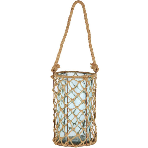 """10"""" Decorative Teal Glass and Jute Round Pillar Candle Holder with Handle - IMAGE 1"""