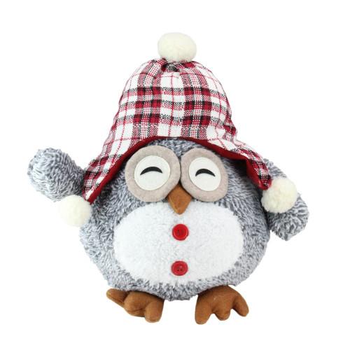 "12"" Gray Owl With Plaid Bennie Cap Plush Table Top Christmas Figure - IMAGE 1"