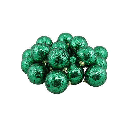"""24ct Green Shatterproof Sequin Finish Christmas Ball Ornaments 2.5"""" (60mm) - IMAGE 1"""