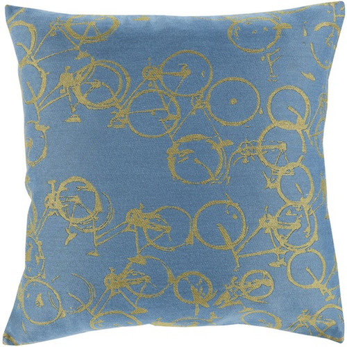 """18"""" Ocean Blue and Lime Green Crazed Cycling Throw Pillow - IMAGE 1"""
