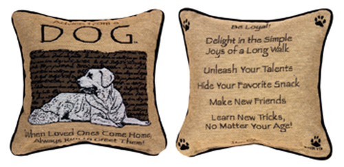 """12.5"""" Beige and Brown Dog Inspired Quote Decorative Square Throw Pillow - IMAGE 1"""