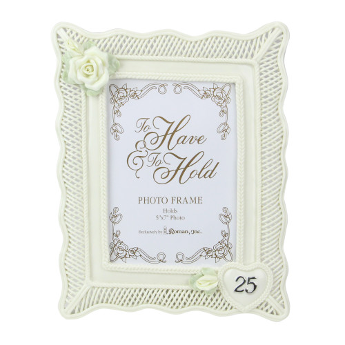 """11"""" White and Gold 25th Wedding Anniversary Photo Picture Frame - IMAGE 1"""