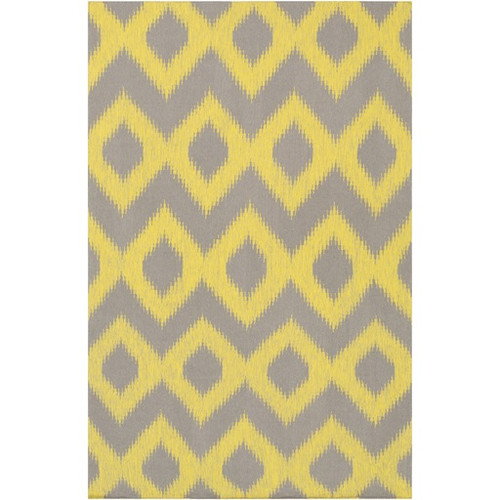 8' x 11' Diamond Melts Yellow and Taupe Gray Hand Woven Wool Area Throw Rug - IMAGE 1