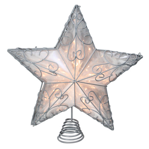 """14"""" Gray Lighted Scrollwork Star Christmas Tree Topper - Clear Lights - IMAGE 1"""