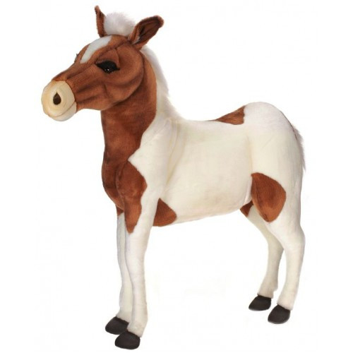"""41.50"""" White and Brown Handcrafted Plush Pony Horse Ride-On Stuffed Animal - IMAGE 1"""