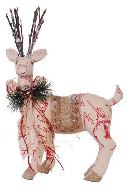 """17"""" Country Cabin Snow Flocked Left Facing Reindeer Christmas Figure - IMAGE 1"""