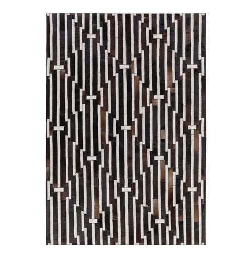 5' x 7.5' Contemporary Black and White Hand Crafted Rectangular Area Throw Rug - IMAGE 1