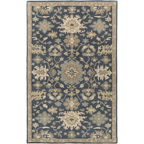 2' x 3' Classical Denim Blue and Brown Hand Tufted Wool Area Throw Rug - IMAGE 1