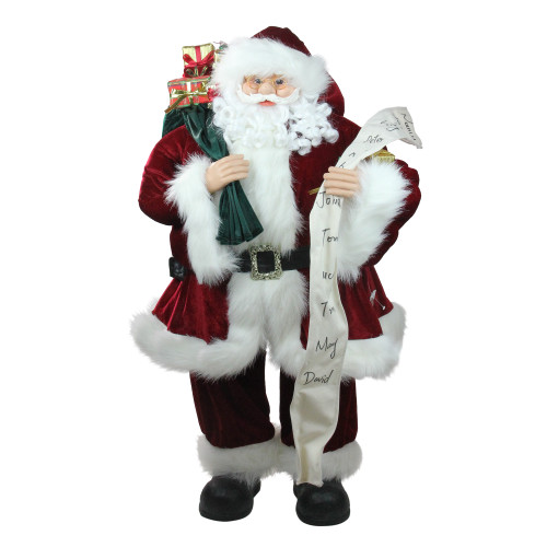 "36"" Red and White Standing Santa Claus Holding a Naughty and Nice List Christmas Figurine - IMAGE 1"