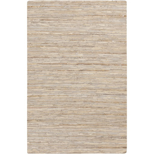 8' x 10' Taupe Brown and Beige Rectangular Leather Area Throw Rug - IMAGE 1