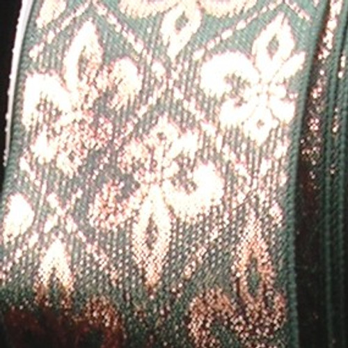 "Metallic Gold and Hunter Green Fleur De Lis Wired Craft Ribbon 5"" x 20 Yards - IMAGE 1"