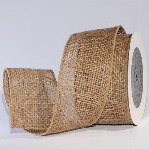 "Natural Brown Burlap Wired Craft Ribbon 3"" x 20 Yards - IMAGE 1"