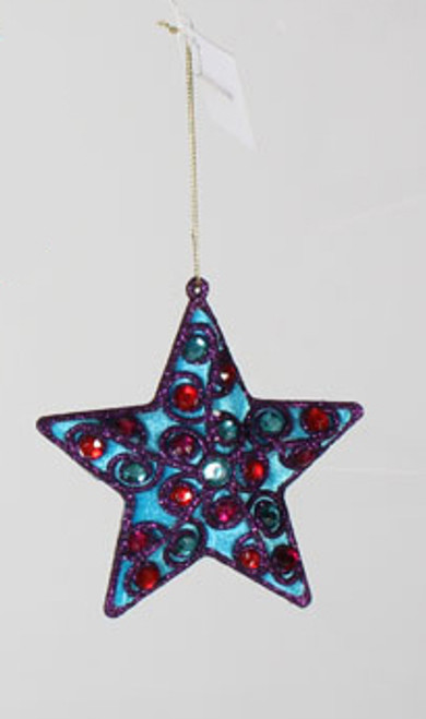"4.5"" Blue Velvet and Purple Glitter Star with Gems Christmas Ornament - IMAGE 1"