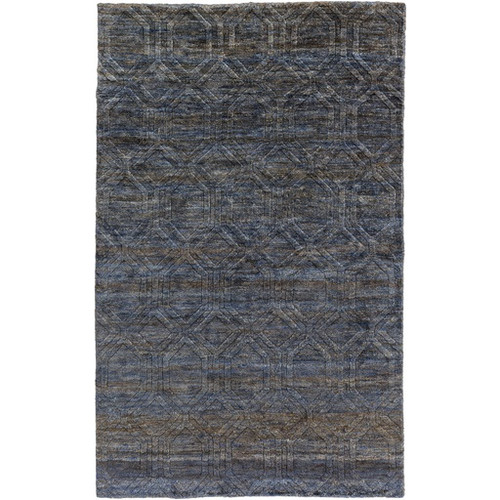 2' x 3' Geometric Cerulean Blue and Coconut Brown Rectangular Area Throw Rug - IMAGE 1