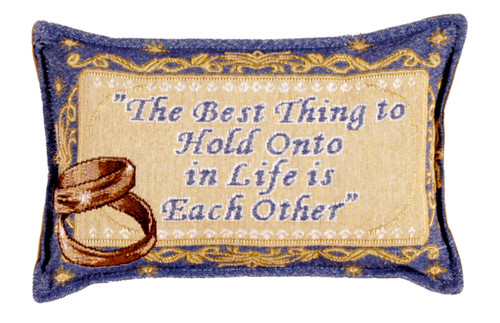 """12"""" Blue and Yellow Entwined Gold Wedding Bands Rectangular Throw Pillow - IMAGE 1"""