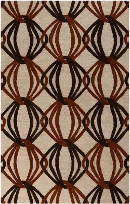 9' x 13' Brown and Beige Joining Links New Zealand Wool Rectangular Area Throw Rug - IMAGE 1