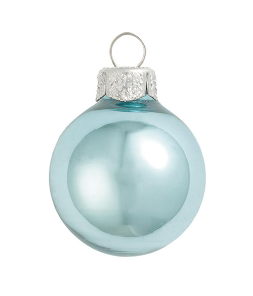 """6ct Sky Blue and Silver Shiny Glass Christmas Ball Ornaments 4"""" (100 mm) - IMAGE 1"""