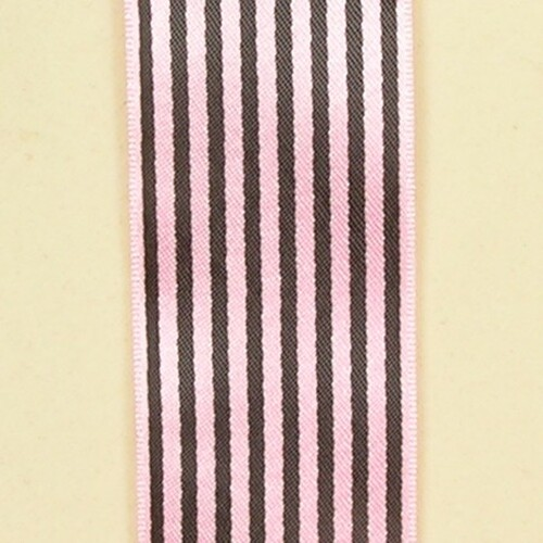 "Pink and Black Stripe Craft Ribbon 0.50"" x 162 Yards - IMAGE 1"