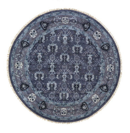 8' Slate Gray and Pewter Gray Round Hand Knotted Wool Area Throw Rug - IMAGE 1