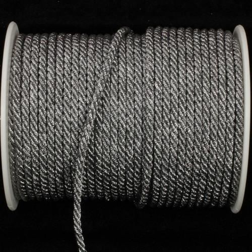 "Pewter Gray Metalized Braided Cording Craft Ribbon 0.2"" x 55 Yards - IMAGE 1"