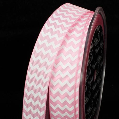 "Pink and White Chevron Grosgrain Craft Ribbon 0.75"" x 120 Yards - IMAGE 1"