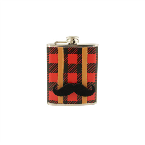 Red and Black Plaid Stainless Steel Lumberjack Drinking Flask with Detachable Mustache - 7 oz - IMAGE 1